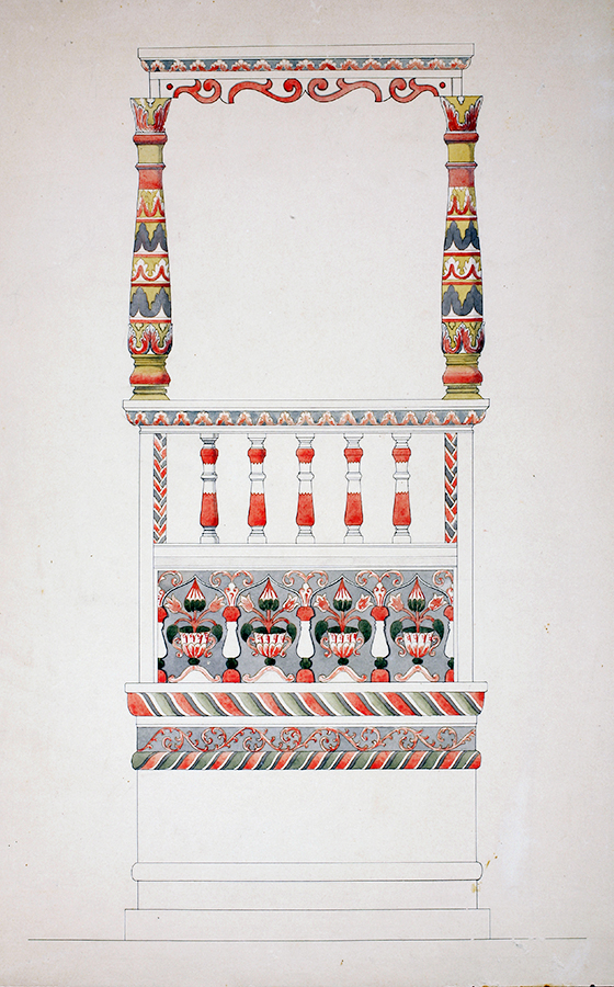 Breier Color Drawing of bimah section.