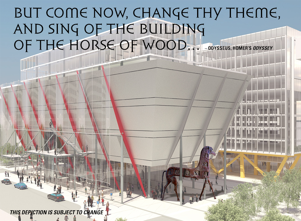 Our goal is to build a Trojan Horse in the style of the Mycenaean period for the new International Spy Museum.