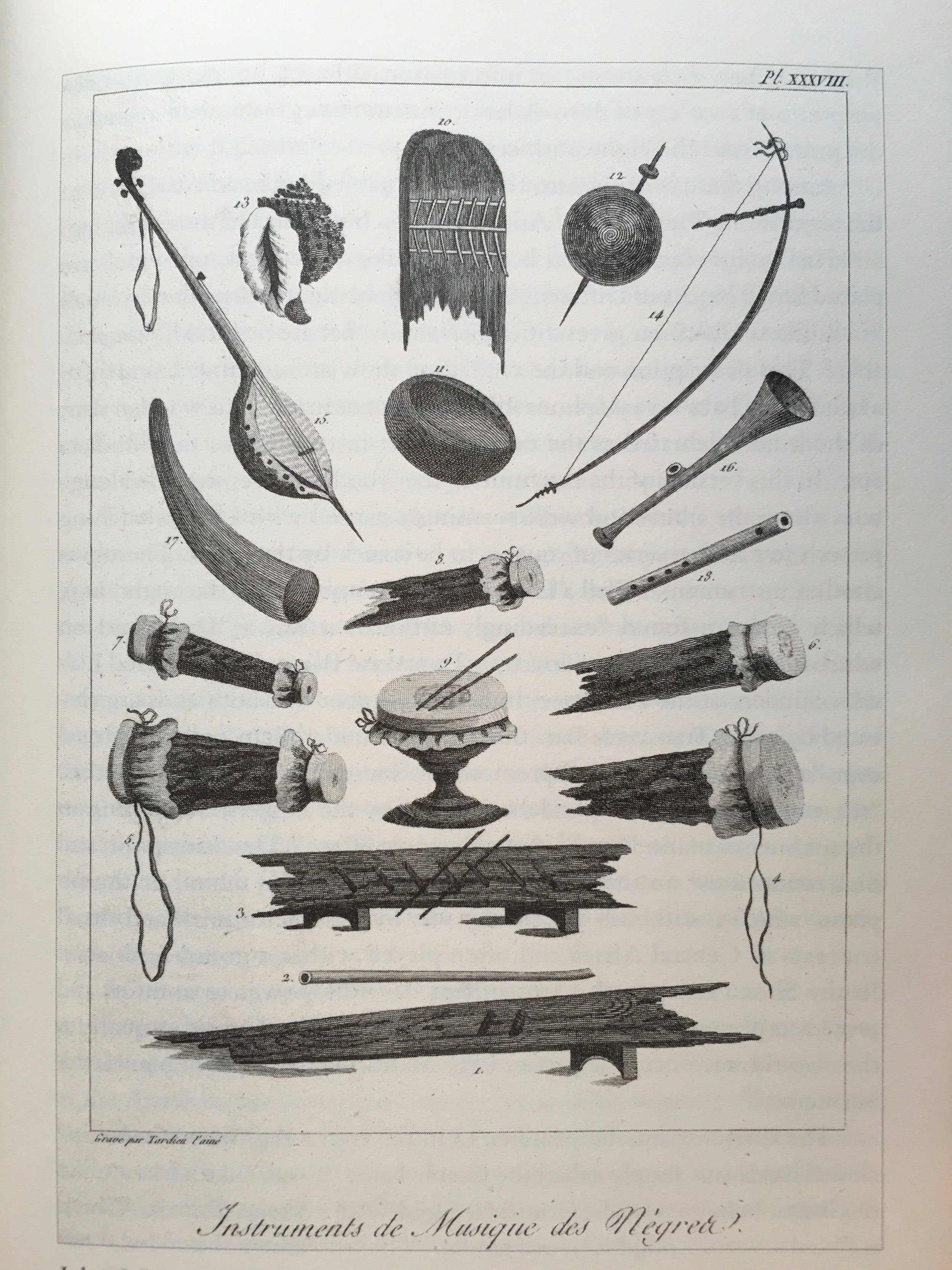 """Musical Instruments of the African Negroes [of Suriname]."" From John Gabriel Stedman's ""Narrative of a Five Years Expedition against the Revolted Negroes of Surinam, from 1772 to 1777"" (1796)."