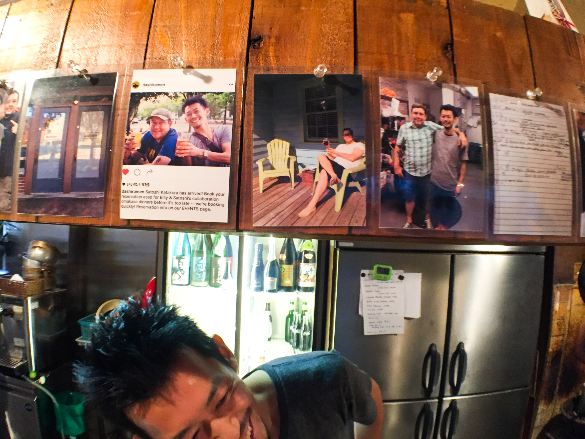 Pictures of his 2016 trip to Durham line the walls at Satoshi's Hiro izakaya