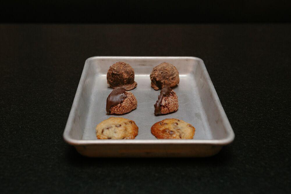 peanut butter truffles. chocolate almond macaroons. smoked chocolate chip cookies