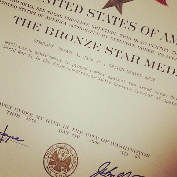 More great finds at Grandma's: Grandpa's bronze star medal award.