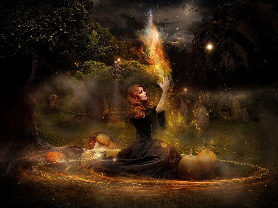A witch celebrating the traditional Celtic/Druid holiday of Samhain a.k.a. Halloween.