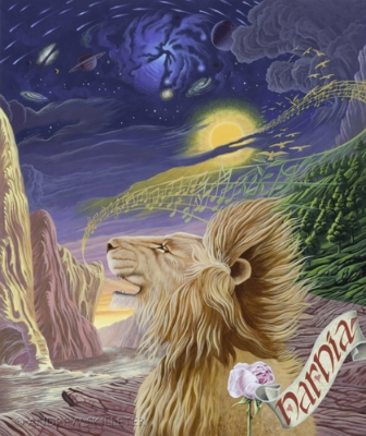 Aslan creating Narnia through song, like God creating the world through words