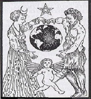 """The Queen of Heaven a.k.a. Ashtoreth, Baal, and their son. Druid priestesses bore a blue crescent on their foreheads and primarily worshiped the """"Mother Goddess"""" and moon, while the Druid priests primarily worshiped the sun and the """"Great Horned One."""" Nothing new under the sun."""