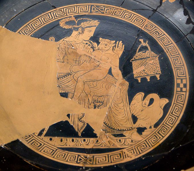 Pasiphae, King Minos' wife, with her Minotaur son.