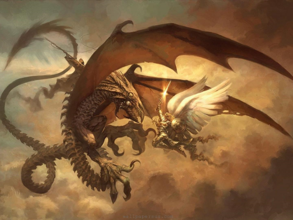 The Archangel Michael battling the Serpent of Old in the heavens.