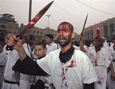 Modern Shiite Muslims cutting themselves to their god.