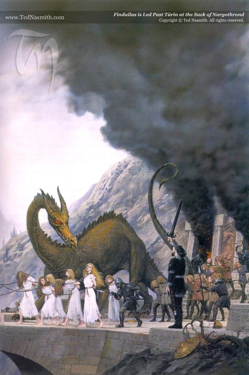 Turin, at the Sack of Nargothrond, falling under the Dragon's spell.