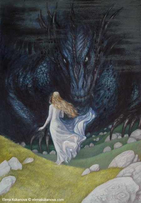 Nienor-Niniel, the daughter of Hurin and sister of Turin, falling under the dragon's spell.