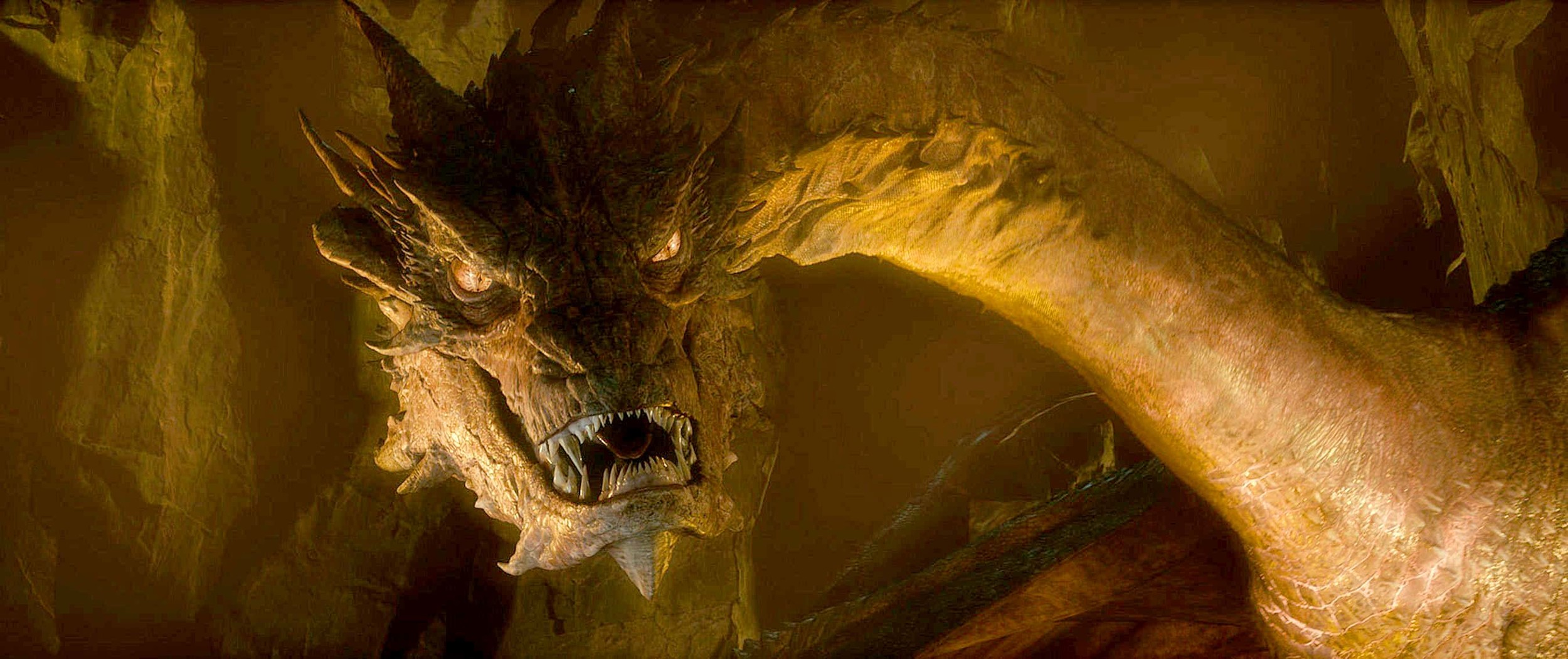 """Smaug (as in """"Desolation of..."""") in all of his golden, fiendish, glory."""