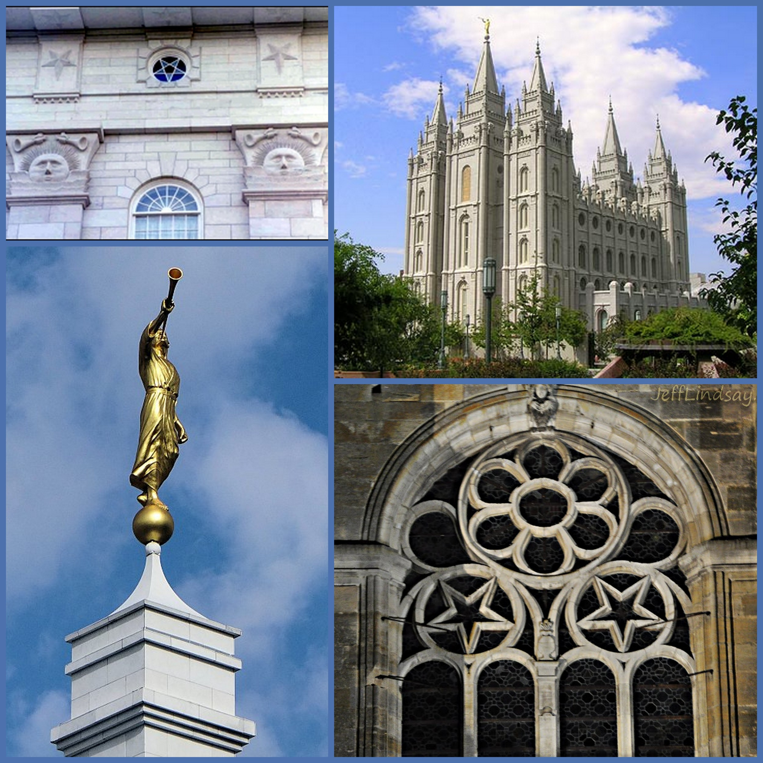 """The images are of Mormon temples and temple decorations. Note the eerie appearance of the temples and the excessive use of pentagrams worked into the decor. The """"angel of light,"""" Moroni, blows his trump atop each temple."""