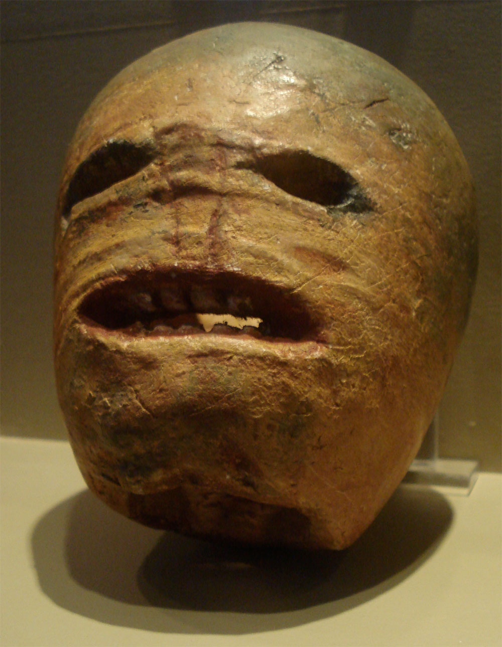 A traditional Irish Halloween turnip (rutabaga) lantern on display in the Museum of Country Life, Ireland