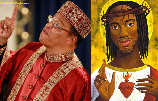 "The Nation of Islam's Minister Louis Farrakhan with ""Black Jesus."""