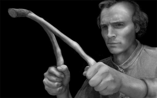 A depiction of Joseph Smith using diving rods.