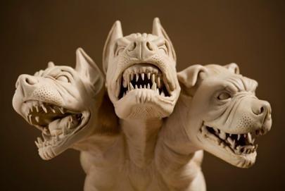 Cerberus, the 3-headed canine guardian of the Underworld in Greek mythology.