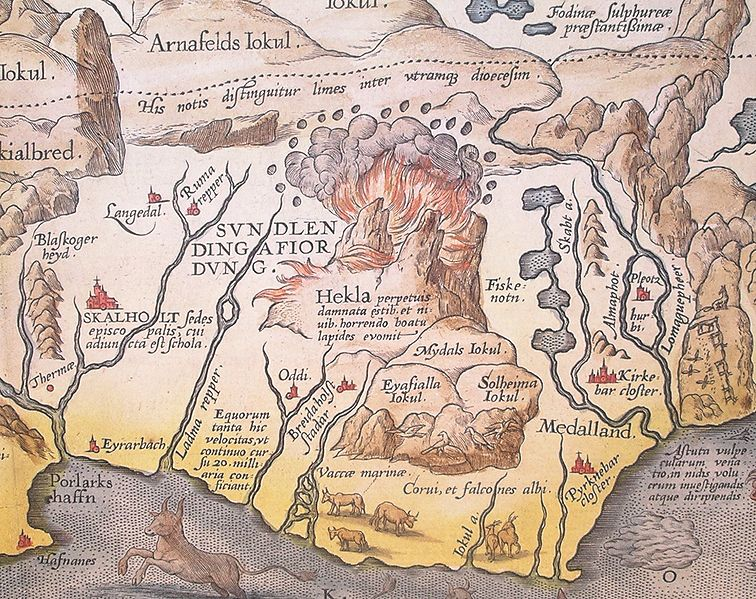 Detail of map of Iceland by Abraham Ortelius