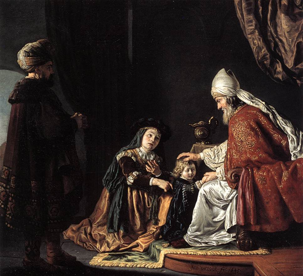 The child, Samuel, being lent to the Lord and the House of God in the form of the Priest-Judge, Eli, by his parents Hannah and Elkanah.