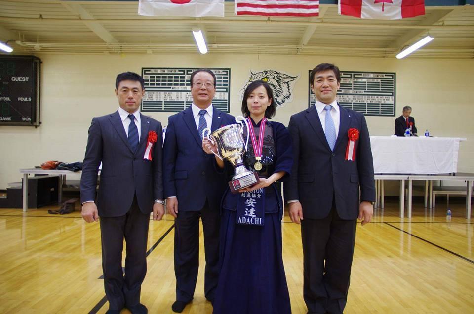 Makiko Adachi Sensei - 1st place in women's division - The 18th Annual Detroit Open Kendo Tournament. Photo with Naoki Eiga Sensei, Yoshiteru Tagawa Sensei and Hideyuki Eiga Sensei