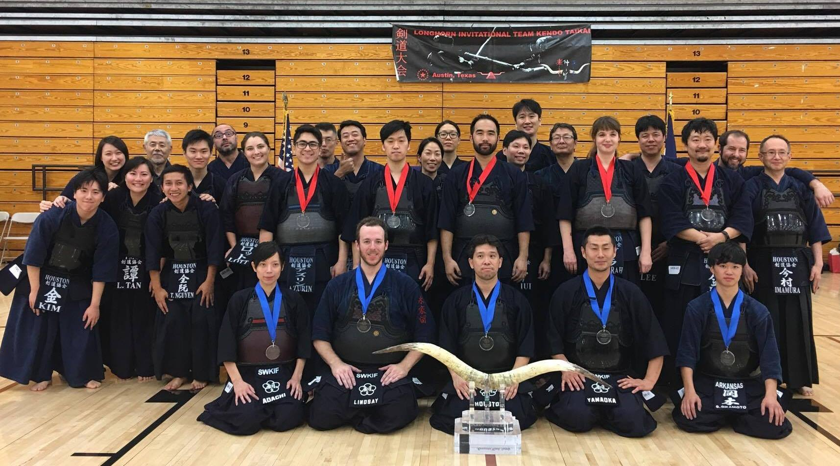SWKIF team with Houston Sensei and Adachi Sensei took 1st place at the 2017 Longhorn Tournament. HKK A team took 2nd place.