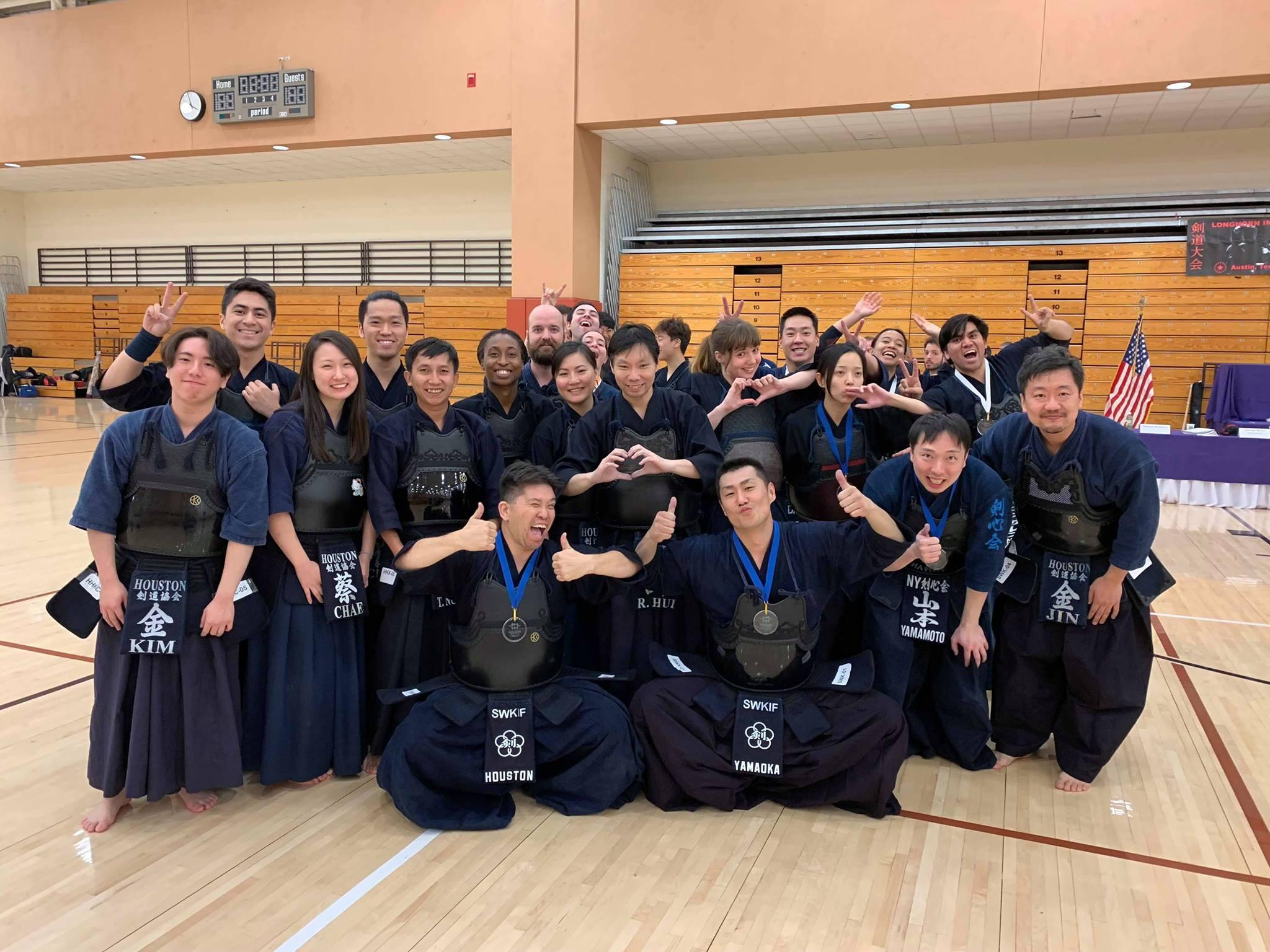 SWKIF team with Houston Sensei and Adachi Sensei took 1st place at the 2018 Austin Team Taikai.