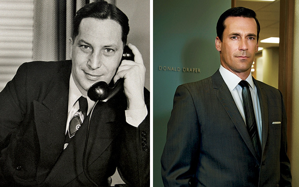 Draper Daniels (left) compared to  Mad Man's  Don Draper (right). Photo from Chicago Magazine.