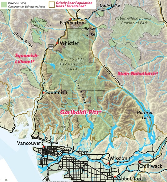 Map of Garibaldi-Pitt threatened grizzly bear population unit.