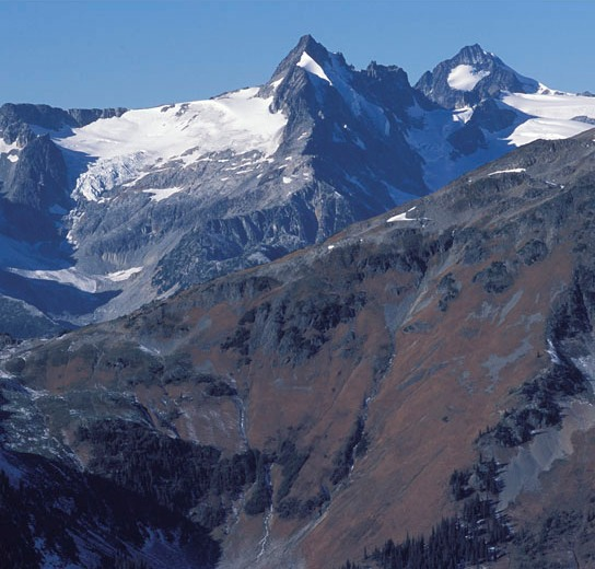 The Garibaldi-Pitt range contains much rock and ice with limited remaining undeveloped areas of good grizzly habitat.