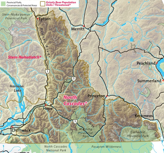 Map of North Cascades threatened grizzly bear population unit.