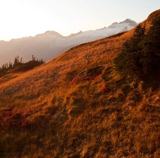 North Cascades at sunset.