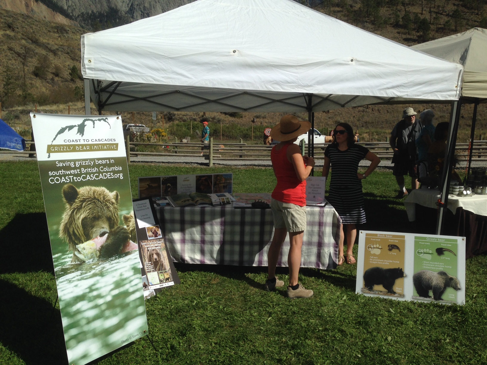 C2C's new Outreach Coordinator Claire Ruddy, at the Lillooet Beer and Wine Festival. A great way to connect with a community that has lost a number of grizzlies in recent years.