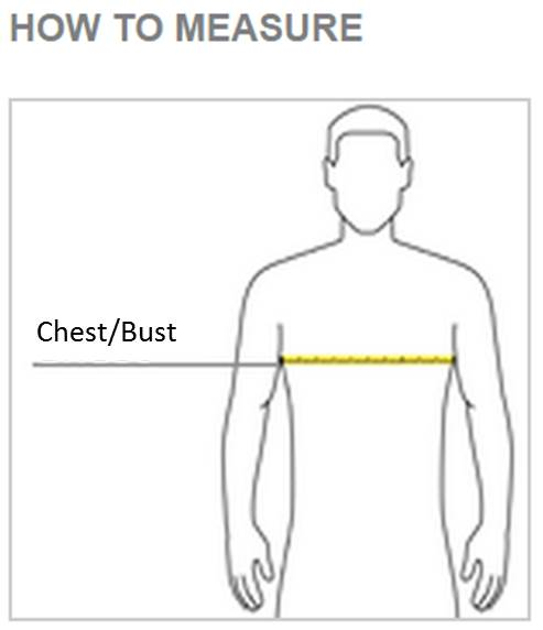 With arms down at sides, measure around the upper body, under arms and around the fullest part of the chest