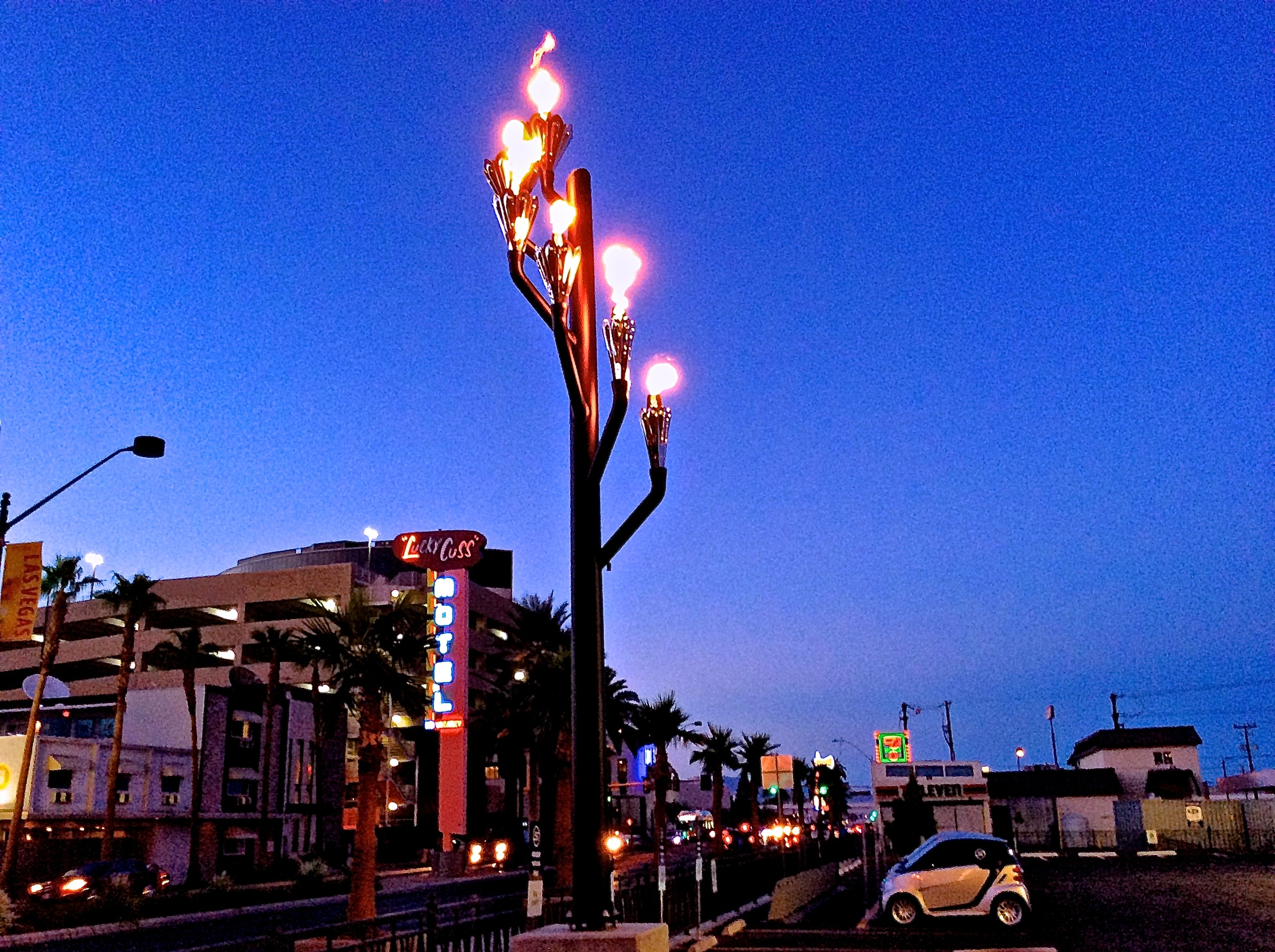 The Tree of Life street light fires weeknights 6-11pm and weekends 6pm-midnight