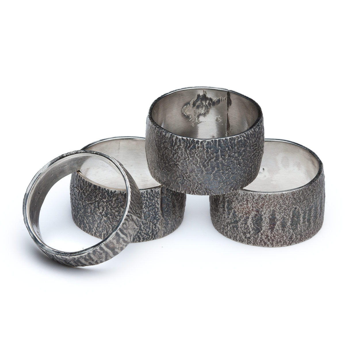 Some examples of reticulated rings I made.