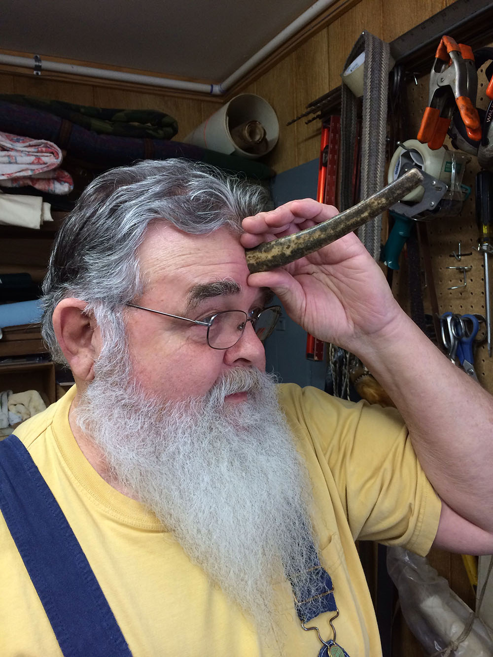 Ronnie with a fossilized walrus tusk