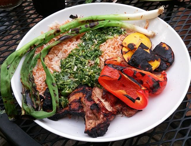 Cilantro sauce, served with rice, grilled chicken thighs, red pepper, mango, and green onion