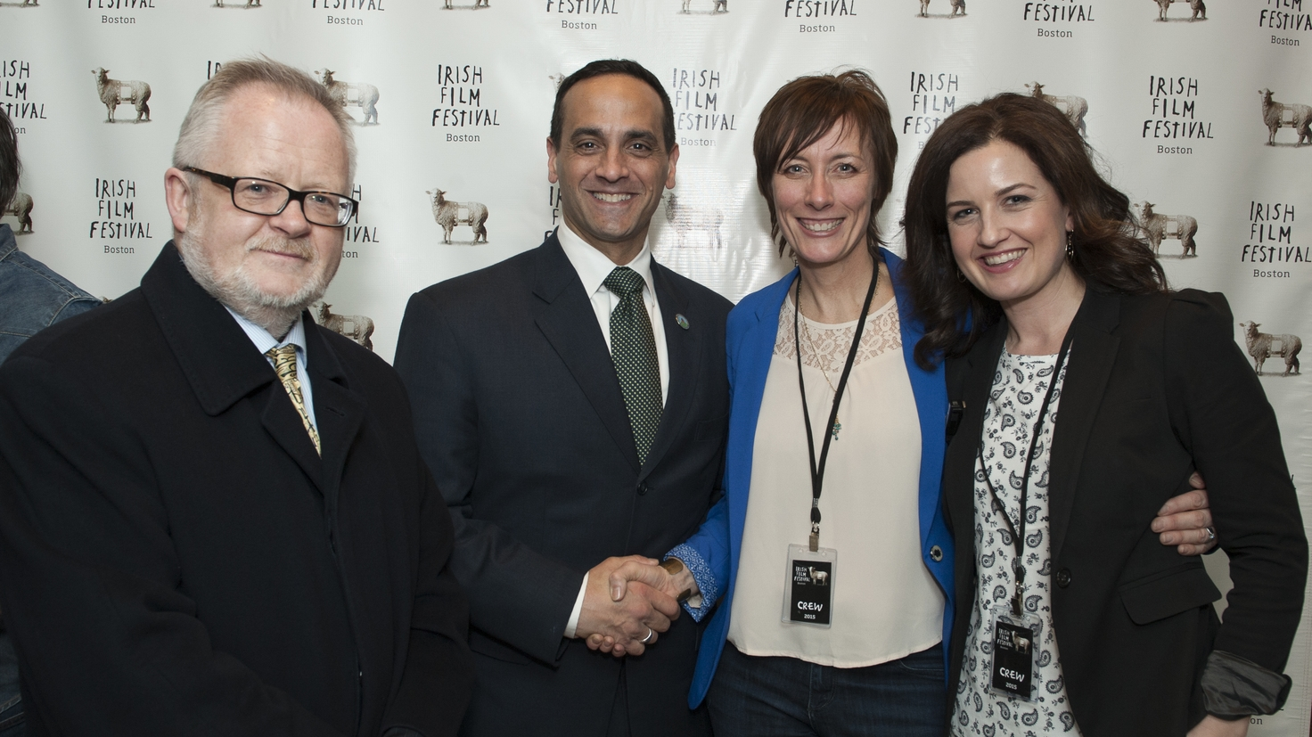 Consul General Breandán Ó Caollai and Mayor  Joseph Curtatone with Dawn Morrissey and Siobhan Fanning, Irish Film Festival, Boston