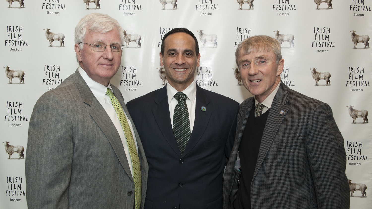 Steve Greeley, Executive Director of the American Ireland Fund, Mayor Joseph Curtatone and Alderman Jack Connelly.