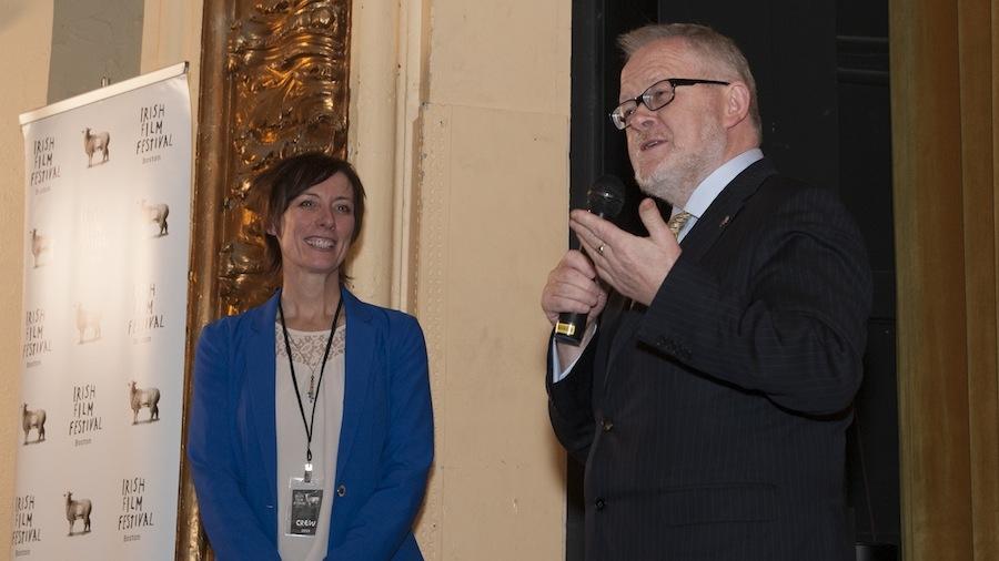 Dawn Morrissey, Festival Director, and Breandán  Ó Caollaí,Ard-Chonsal na hÉireann, officially open the 2015 Irish Film Festival, Boston.