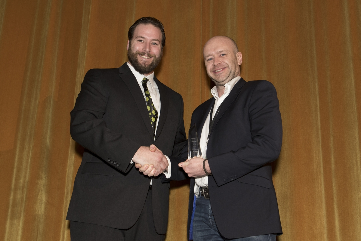 Director Andrew Kavanagh (right) is presented with his Director's Choice Short award by Marc Sawyer, Kerrygold Liquer