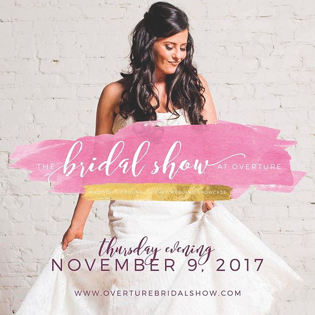 Save the date - Thursday evening, November 9! Join us for Madison's original luxury wedding showcase, The Bridal Show at Overture. All of the wedding professionals are hand selected and are truly the best of the best in the Wisconsin wedding industry!  Visit the show website for more information:  overturebridalshow.com #wisconsinbride #wisconsinwedding #madison #madisonwedding @cherrybevents @overturecenter @wisconsinbride @veil_magazine @eventessentialsmadison @theedgeh2o @verasbridal @bloombakeshop @daffodilparker @gailambrosiuschocolatier @creativeconfectionsbyalicia @archmadison @sohadiamondco @alankoasalonspa @gardenlaurels @timfitchphotography @front_room_photo @brandisbridal @florabyjamae @themadisonconcoursehotel @roastcoffeecompany @fredastairemadisoneast @theloftat132 @whiteoaksavanna @potterybarn_madison_wi @sugarpeardesign @celebrationsmadison @nedrebos @beyond_the_booth @flyingrabbitpress @revelmadison @williamssonoma @fromagination @rejuvenationspa @jukeboxbandstand @cookiesbykatewi @kpdesignsmadison @chalmersjewelers @abbotslane