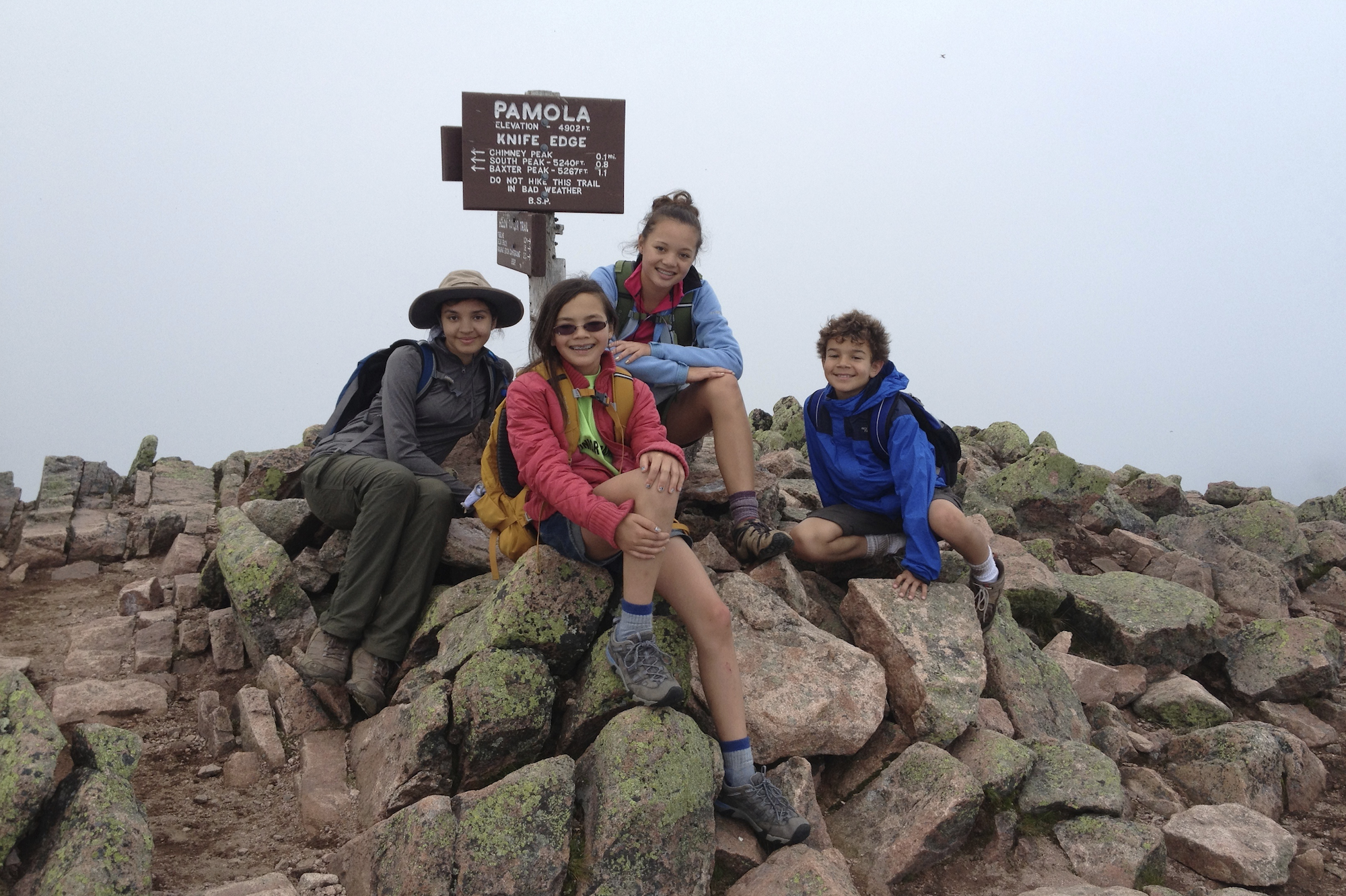 Siena (far left) at the Summit of Mt. Katahdin with cousins (center two) and little brother (far right)