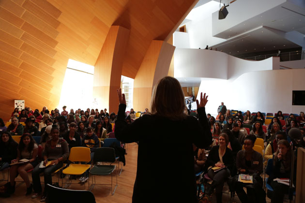 Keren Taylor, Founder of WriteGirl,Talking to our group of women and girls at our 12th Annual WriteGirl Songwriting Workshop at Disney Hall.