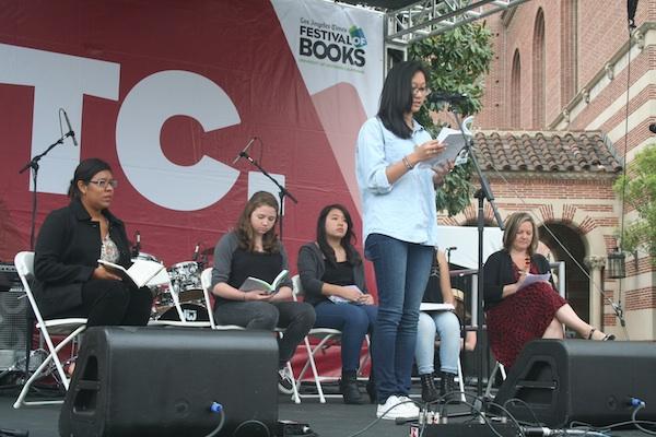 Photo: Camille Crisostomo, 17, read original work during WriteGirl's session. Credit: Tracy Brown