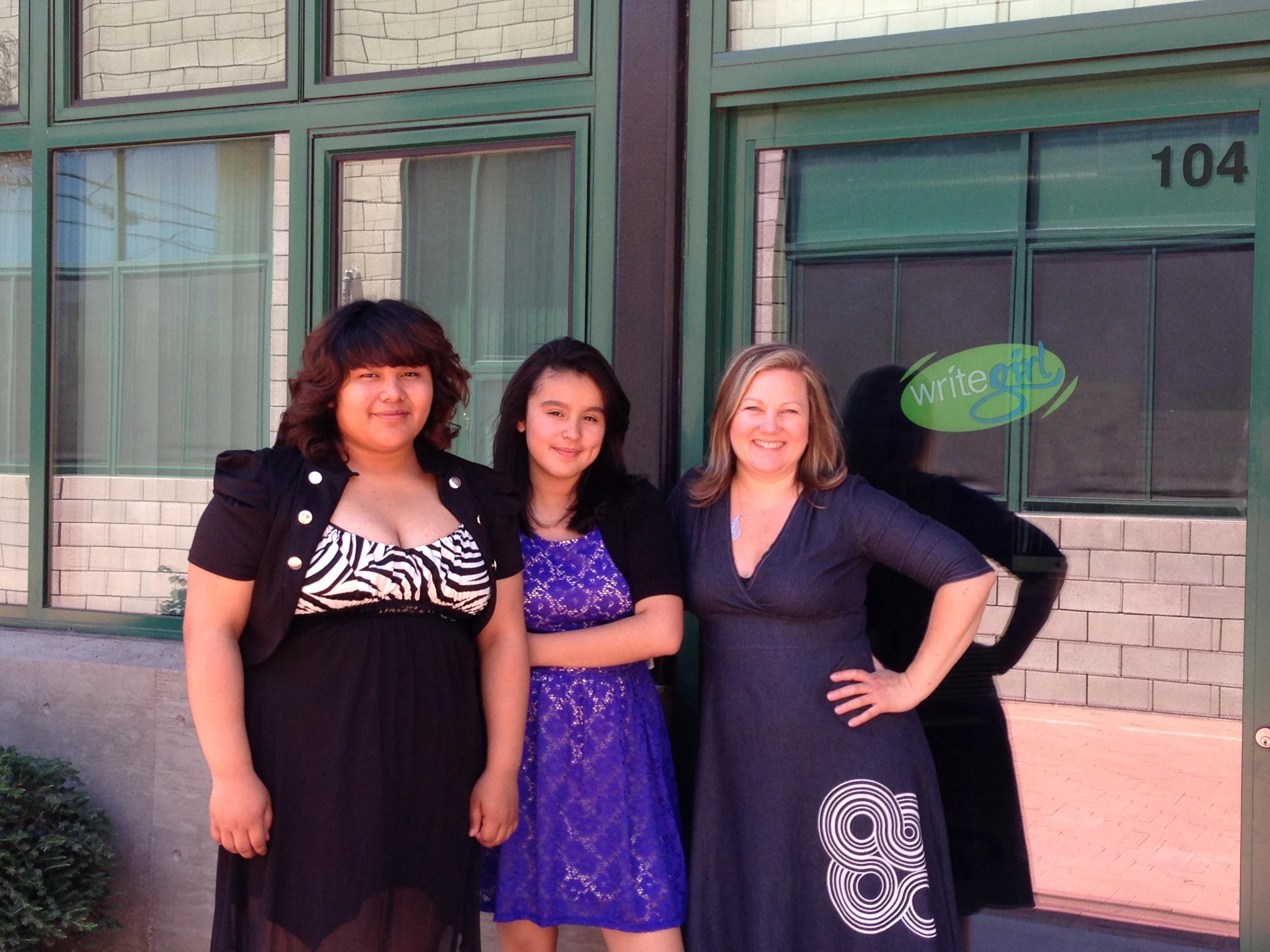 Two WriteGirl Interns with founder of WriteGirl,  Keren Taylor