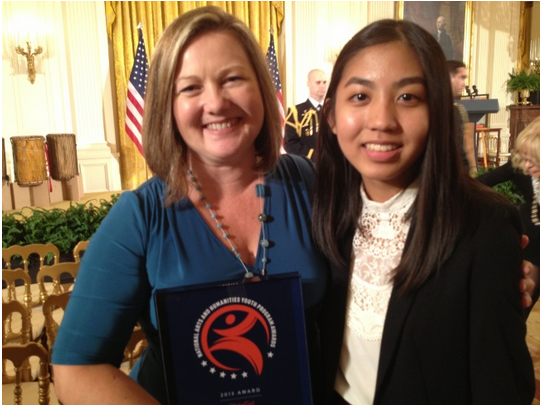Keren Taylor, left, founder and executive director of Write Girl, and 16-year-old program participant Jacqueline Uy, were at the White House for Friday's ceremony. (Photo Credits: Kitty Felde/KPCC)