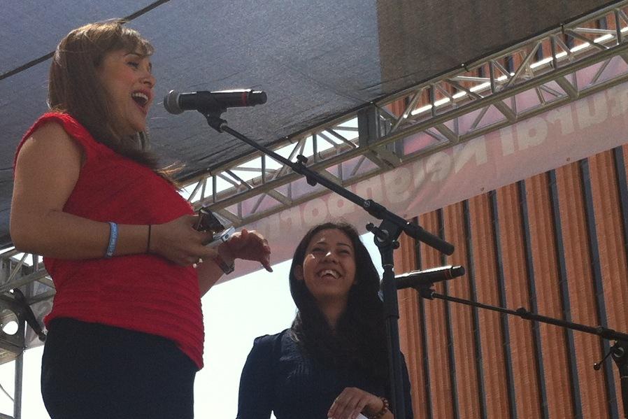 CNN's Elizabeth Espinosa and a WriteGirl Mentee at the Los Angeles Times Book Festival, Spring 2013