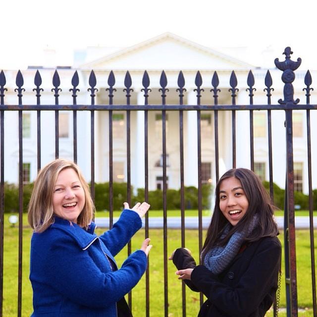WriteGirl Executive Director Keren Taylor and Jacqueline Uy outside the White House