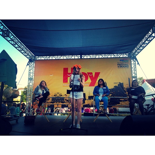 WriteGirl authors reading their work onstage at the LA Times Festival of Books!