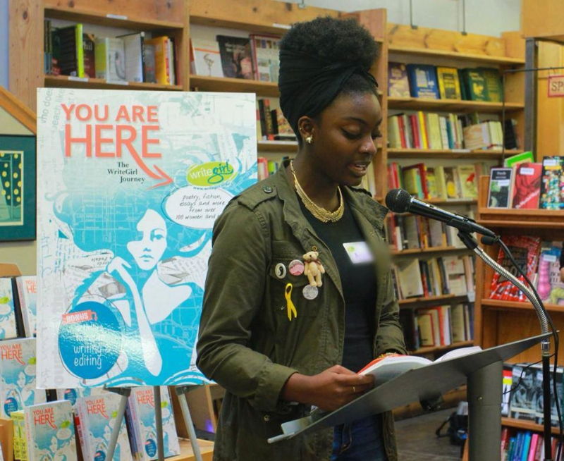"WriteGirl Mentee reading from ""You Are Here"" at a public reading event at Skylight Books in Silverlake"